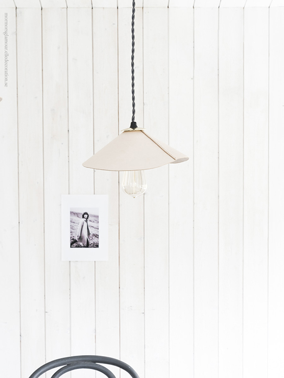 Diy leather pendant lampshade by Mormorsgalmour
