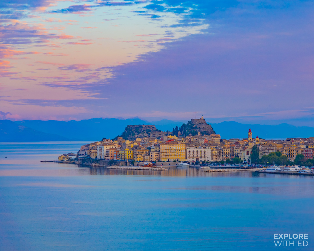 The Greek Island of Corfu during a colourful sunset