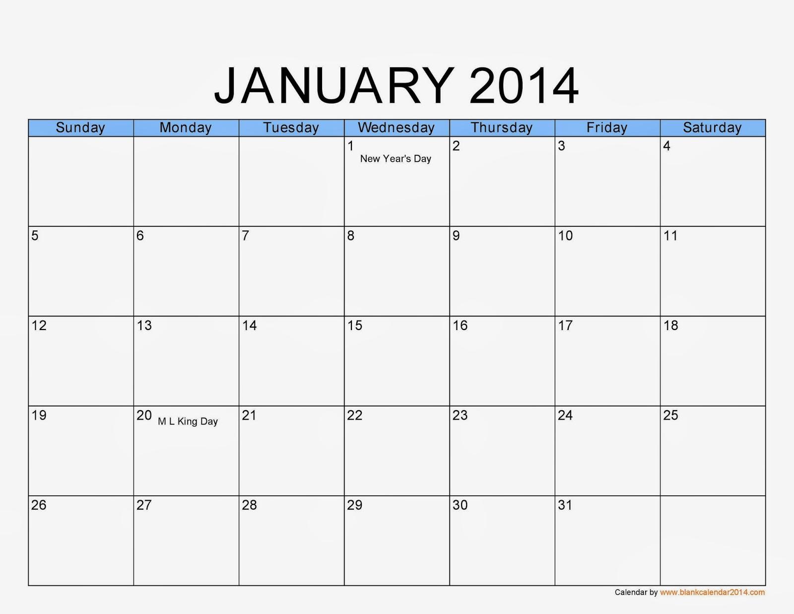 January Calendar Printable 1