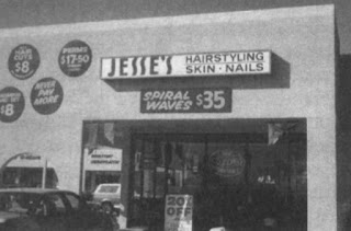 "A photograph in a preprint from Art Winfree, with the caption ""Spiral waves have become so popular in Tucson they are even sold in hair styling salons (Figure 1)"""