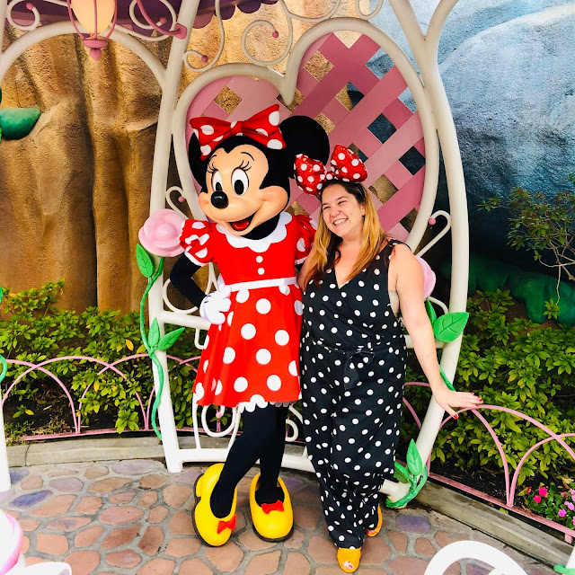 #BoundtoParkHop, Instagram photo challenge, clothing challenge, Disneyland, Disney bounding, Disney bounds, Jamie Allison Sanders, Favorite Meet and Greet, Minnie Mouse, #minniestyle, polka dots, Monki jumpsuit, Aldo, Asos