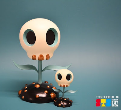 Shanghai Toy Show 2018 Exclusive The Skull Flower Turquoise Edition Designer Art Figure by Tara McPherson x ToyQube