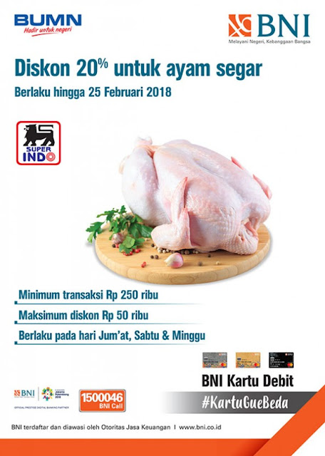 Promo BNI Kartu Debit Diskon 20% Ayam Segar Berlaku Hingga 25 Februari 2018