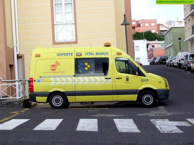 Motorista herido ayer al colisionar contra un muro en Tazacorte
