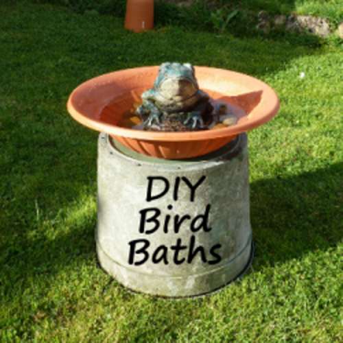 diy bird bath with found items bathing area