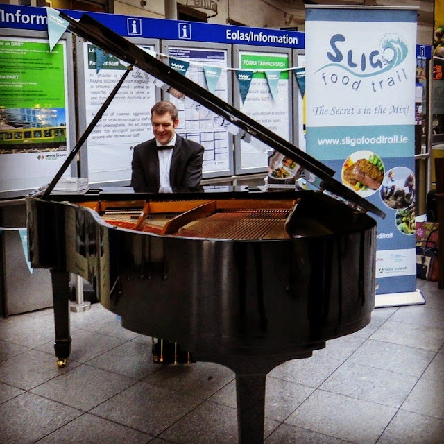 Sligo's Kieran Quinn plays the piano in Connolly Station in Dublin