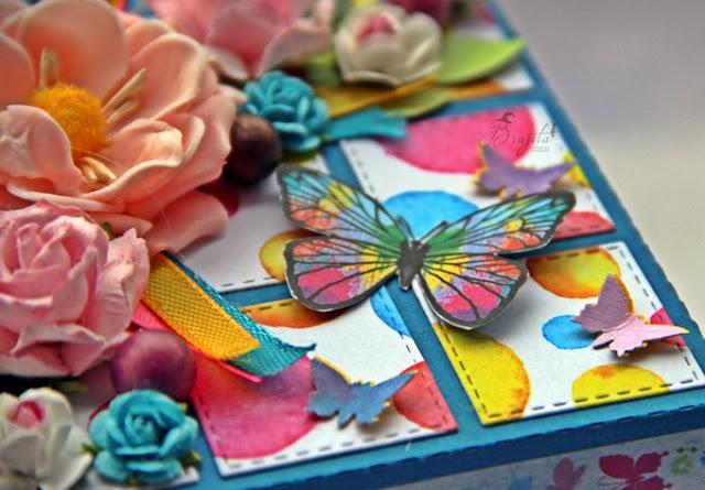 niespodzianka na urodziny, prezent dla dziewczynki, explodujące pudełko, Magiczna Kartka inspiracje, tort urodzinowy