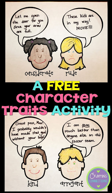 "Check out these FREE character trait activities! This blog post contains a character traits anchor chart and an idea for a character trait lesson where students learn more challenging character trait vocabulary to create a collaborative class book! If you want students to move beyond ""nice"" and ""mean"" character trait responses, check this out!"