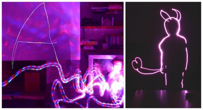 escritura divertida con light painting para niños, letras, trazo y dibujos