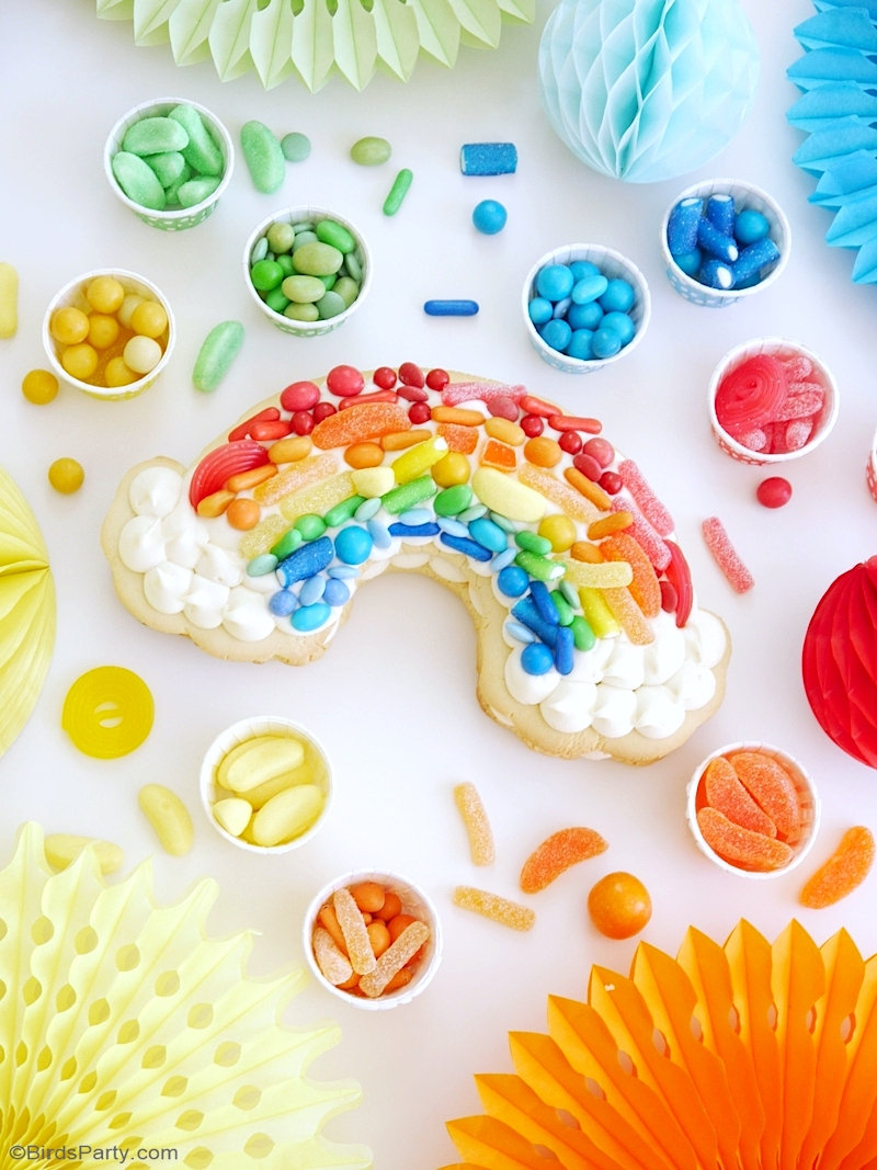 Rainbow Cookie Cake Recipe - and easy to make, super fun dessert for birthday parties,for a Saint Patrick's Day celebration or unicorn birthday! by BirdsParty.com @birdsparty #cookiecake #rainbow #rainbowcookiecake #rainbowcake #rainbowcookie #cookie #cake #saintpatricksday #rainbowbirthday #rainbowparty #rainbowtreats #rainbowdesserts