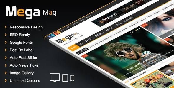 Mega Mag - Responsive Magazine Blogger Template - Blogging