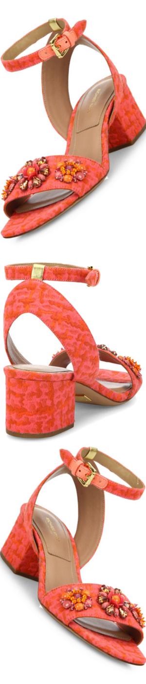 Michael Kors Collection Sam Jeweled Jacquard Block-Heel Sandals