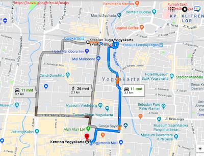 Peta dan denah Lokasi Menuju Keraton Yogya Dari Stasiun Tugu