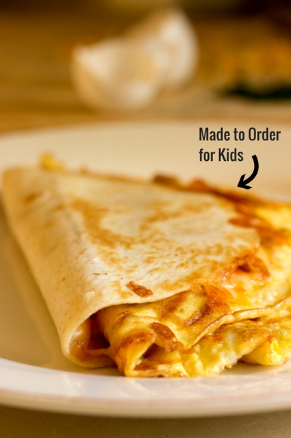 Cheese Omelet Quesadilla: Made to order for kids