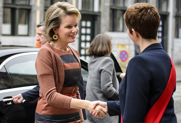 Queen Mathilde wore Natan dress, Natan suede pumps and Valentino python handbag. valentine's day gift