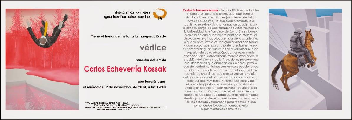 """Inauguración muestra """"vértice"""" de Carlos Echeverría Kossak, artista y profesor de la USFQ. 19 noviembre, 19h00, en Ileana Viteri, galería de arte"""