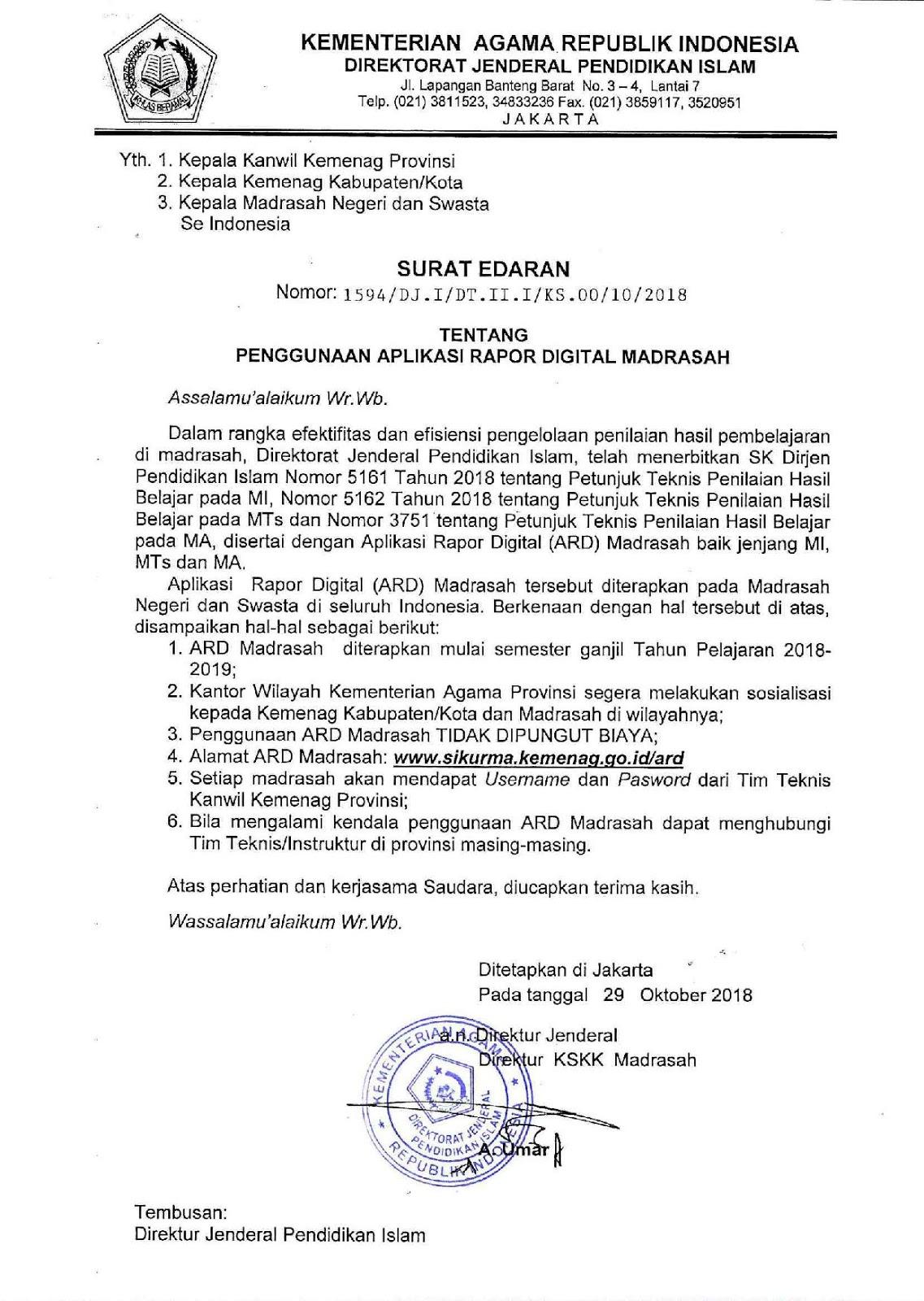 Surat Edaran Dirjen Pendis Tentang Penggunaan Aplikasi Raport Digital Madrasah (Rapor Online)