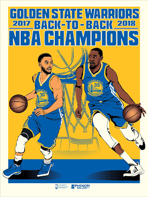 Golden State Warriors 2018 Back To Back NBA Champions Screen Print by K-Tran x Phenom Gallery