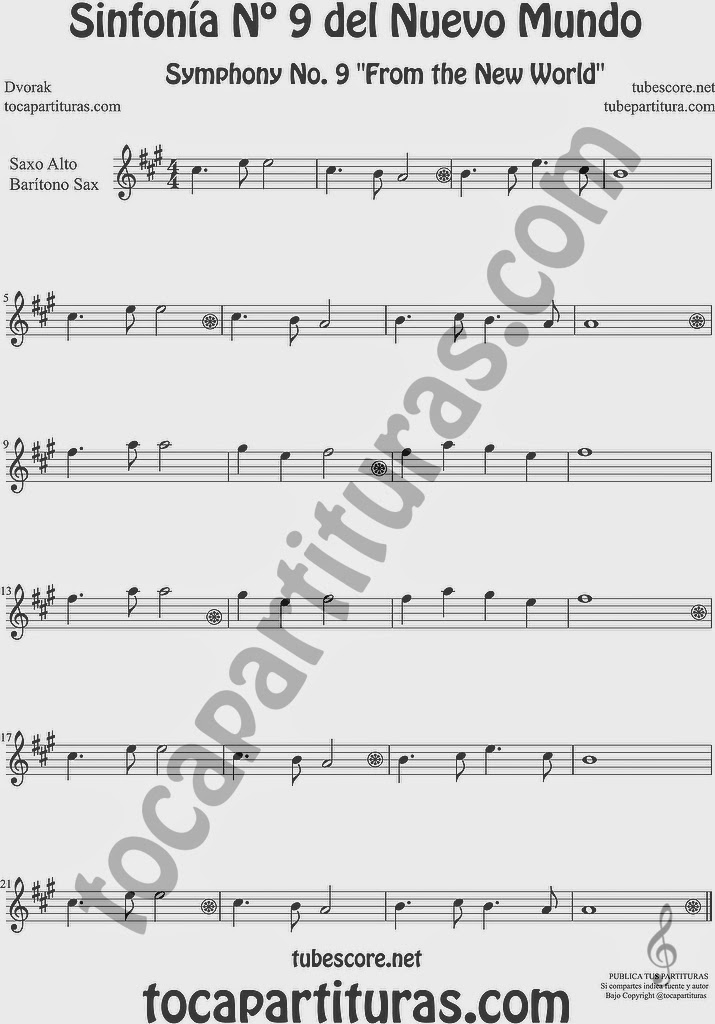 Sinfonía del Nuevo Mundo Nº 9 Partitura de Saxofón Alto y Sax Barítono Sheet Music for Alto and Baritone Saxophone Music Scores Symphony No. From the New World by Dvorak
