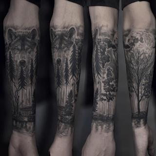 gambar tato serigala di tangan
