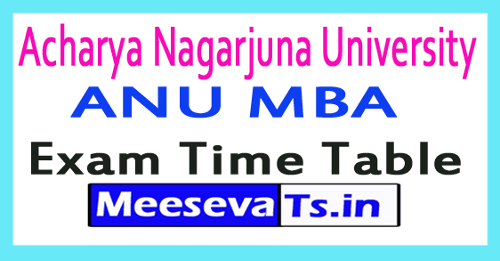 Acharya Nagarjuna University ANU MBA Exam Time Table 2017