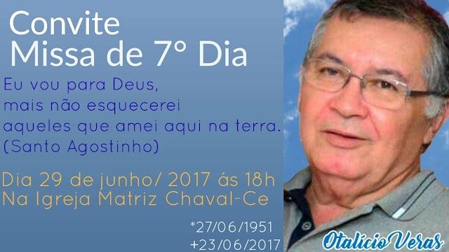 Convite para missa de 7º dia de Otalício Veras