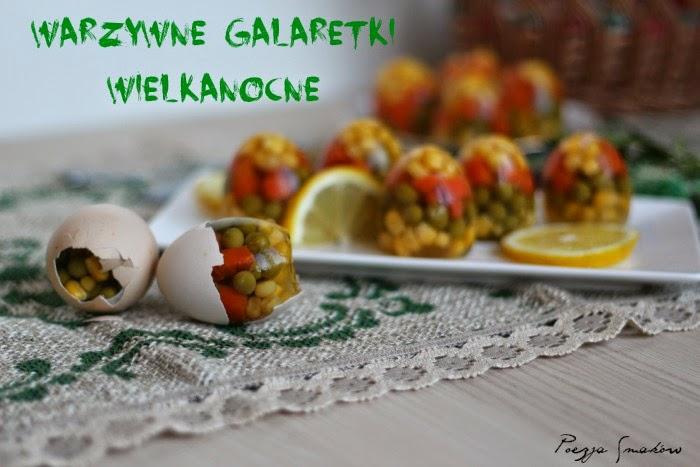 Wielkanocne warzywne galaretki - mini galat warzywny w kształcie jajek.