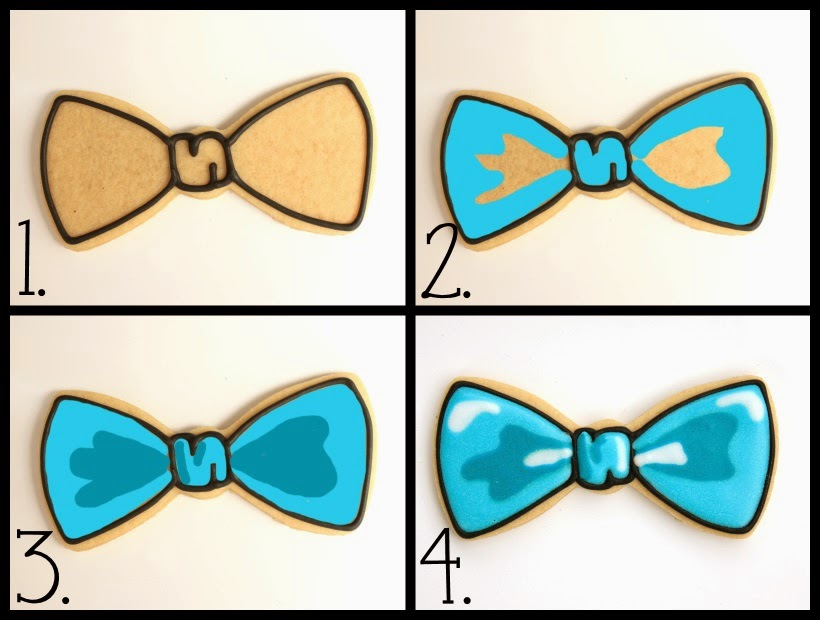 Decorated Bow Tie Cookies for a Little Man Baby Shower