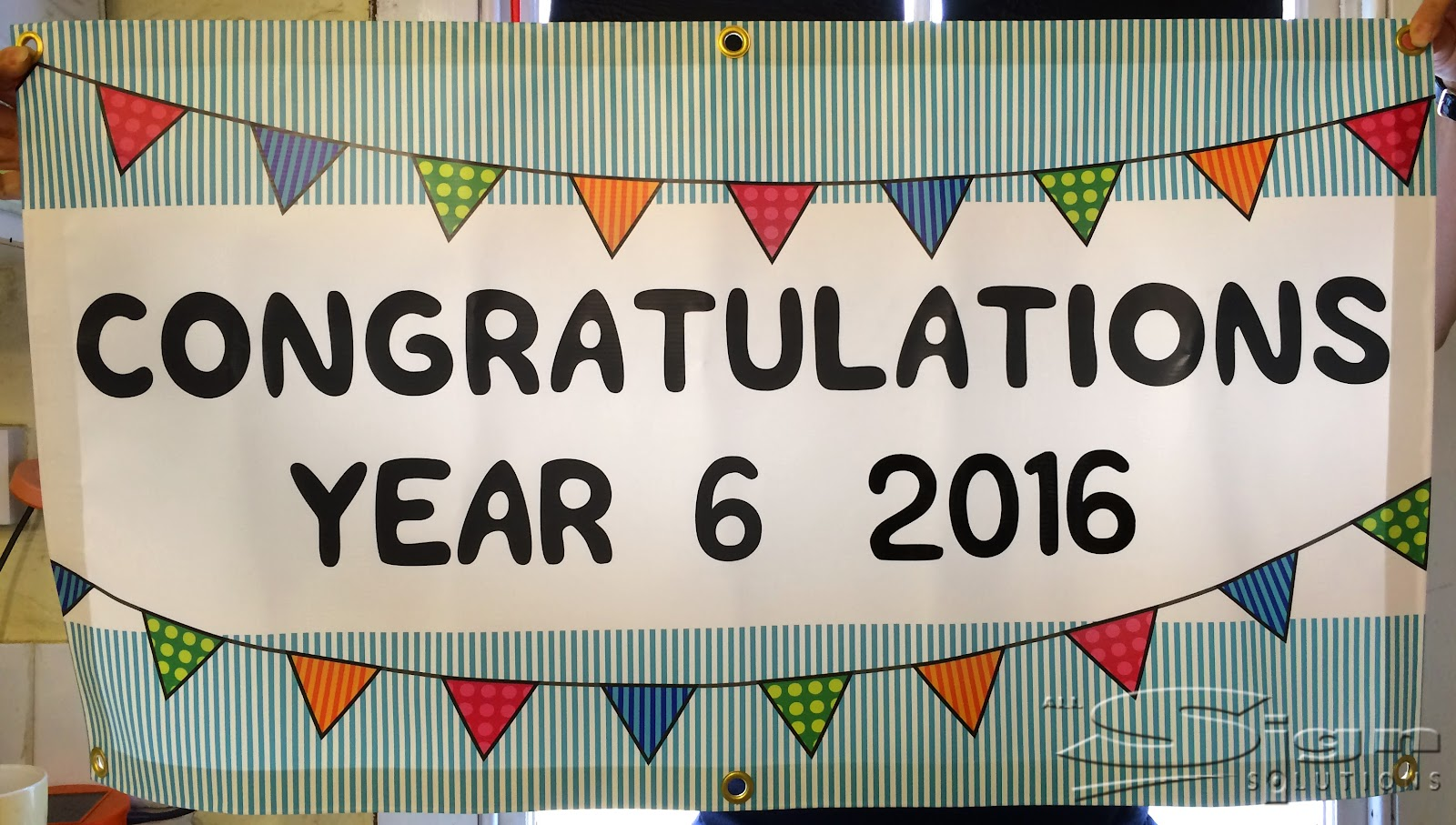 congratulations banner full colour print with vinyl letters all