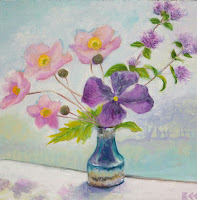 anemones, clematis, flower painting, still life, window art, Bee Skelton artist