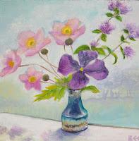 anemones, clematis, flower painting, still life, window art, Bee Skelton artist