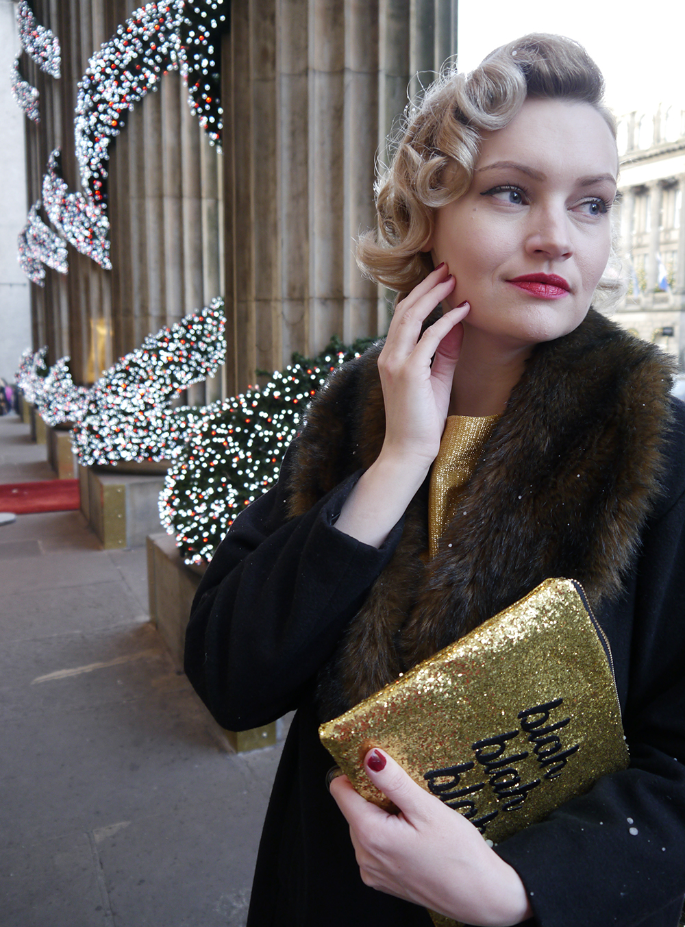British vintage style blogger, faux fur trimmed Henry Holland coat, gold glitter clutch for christmas party, easy vintage pincurl style with tongs, fashion blogger christmas outfit, the dome edinburgh christmas