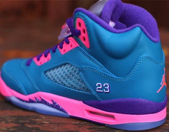 new style 3e39e 7f06e Made exclusively for the ladies, this Girl s Air Jordan 5 Retro GS comes in  a tropical teal, white, digital pink and court purple colorway.