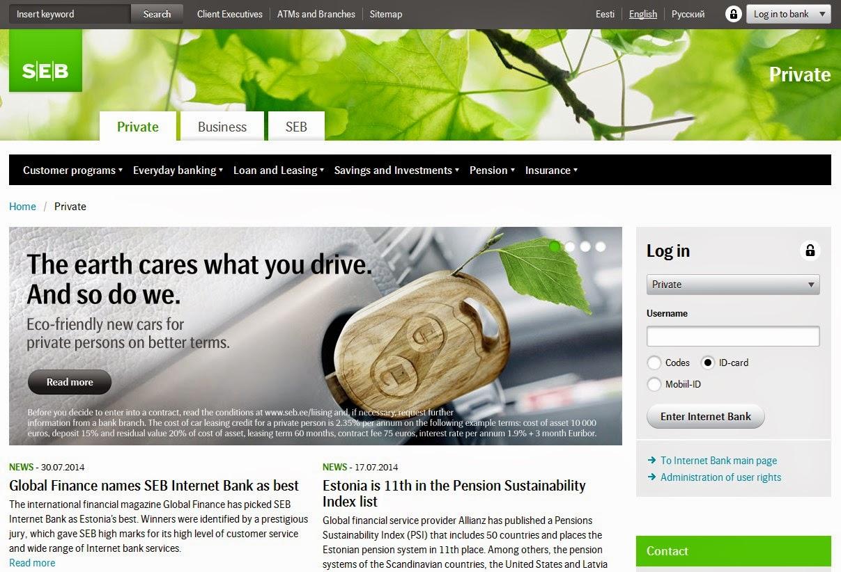 SEB Internet Bank Screen