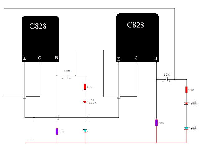 C828 Transistor blinking circuit