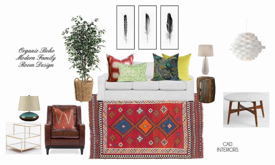 interior e-design decorating mood board bohemian eclectic transitional modern