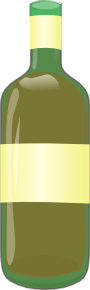 Green Bottle With Yellow Label Clipart