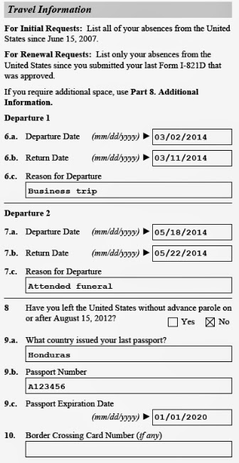 Image of travel information section of form i-821-d for daca renewal