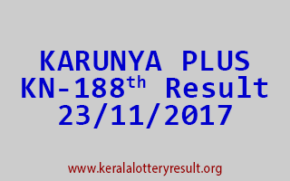 KARUNYA PLUS Lottery KN 188 Results 23-11-2017