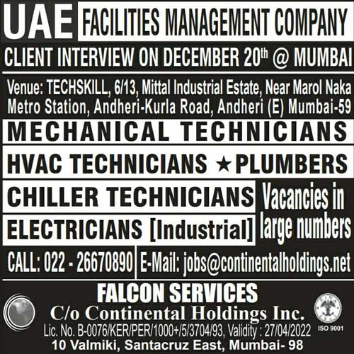 UAE facilities management companies Jobs in UAE | Gulf Jobs Walk-in Interview in Mumbai