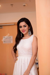 Ragini in Beautiful Cream Sleevelss Gown Perfect makeup ~  Exclusive 003.jpg
