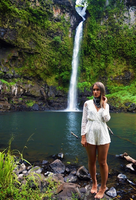 fashion shoot tropical waterfall lace playsuit outfit