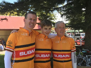 David, his son and his dad after completing the TDU