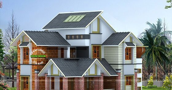 Double Height Dining Hall Slop Roof House Kerala Home