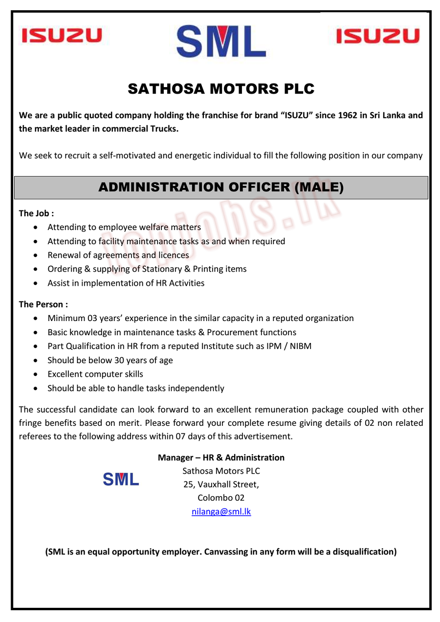 Vacancy In Sathosa Motors PLC  Post Of – Administration Officer (Male)