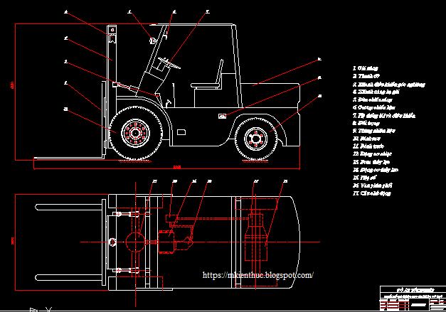 Bản vẽ xe nâng hàng cho xe nâng cỡ nhỏ