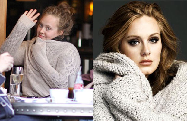 Adele with n without makeup