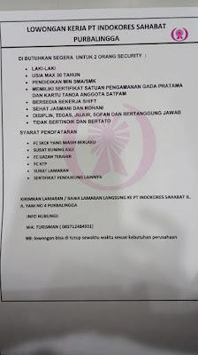 Lowongan Kerja PT. Indokores Sahabat Purbalingga Januari 2020