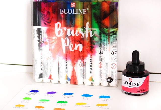 Ecoline watercolour ink, watercolour ink, ecoline ink, ink, art ink, drawing ink, art blog, art blogger, brush pens, brush pen art,