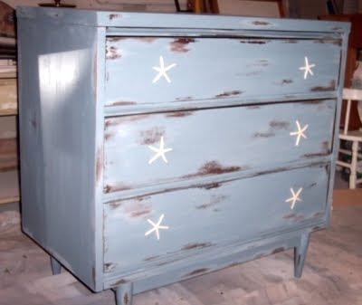 blue dresser with starfish pulls